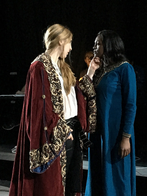 Angela Pirko (Macbeth) and Renea Brown (Lady Macbeth) in rehearsal.