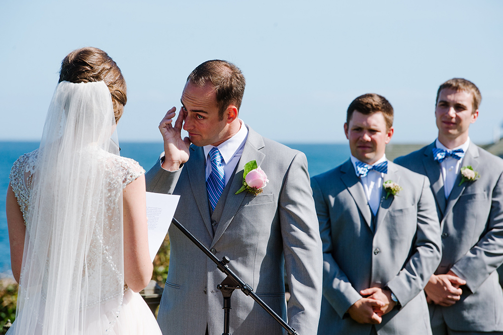 Groom tears up at outdoor ceremony
