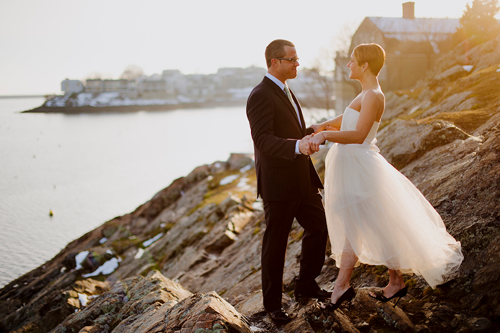 Bride and Groom portrait in Marblehead