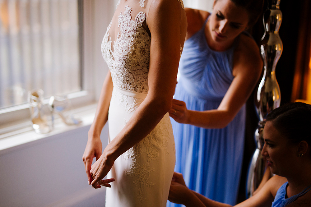 Bride gets ready at Ames Hotel Boston