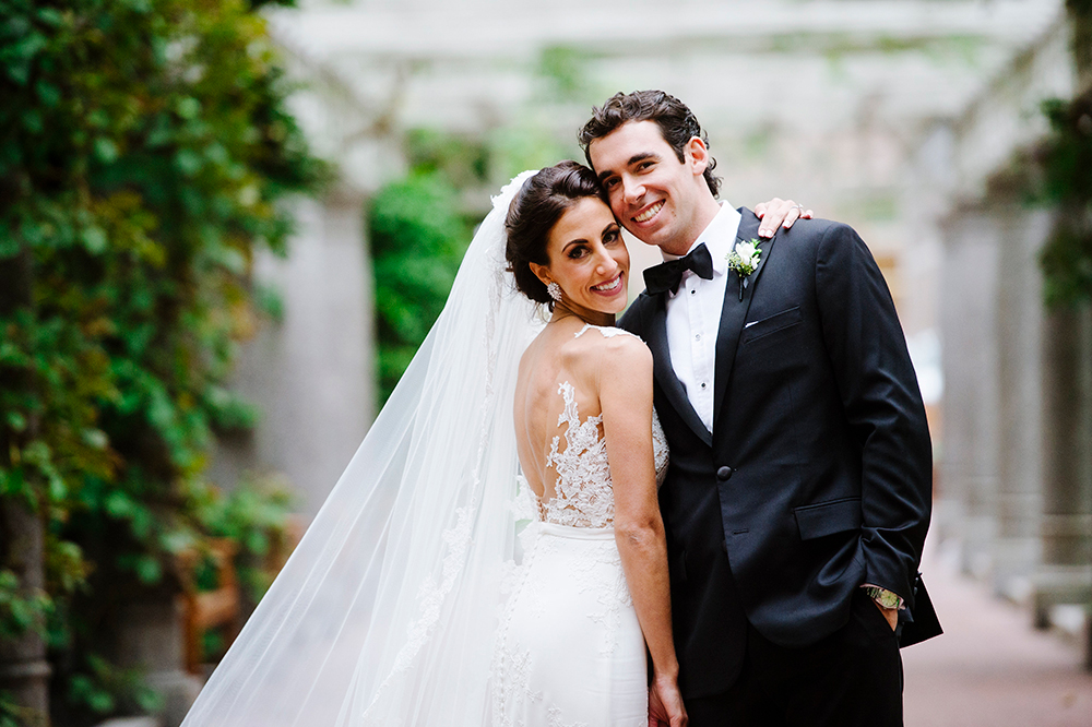 Bride and groom portrait in Post Office Square, Boston