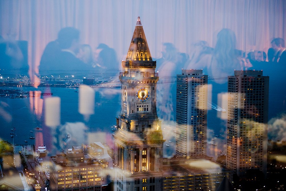 View of the clocktower from wedding at the State Room, Boston
