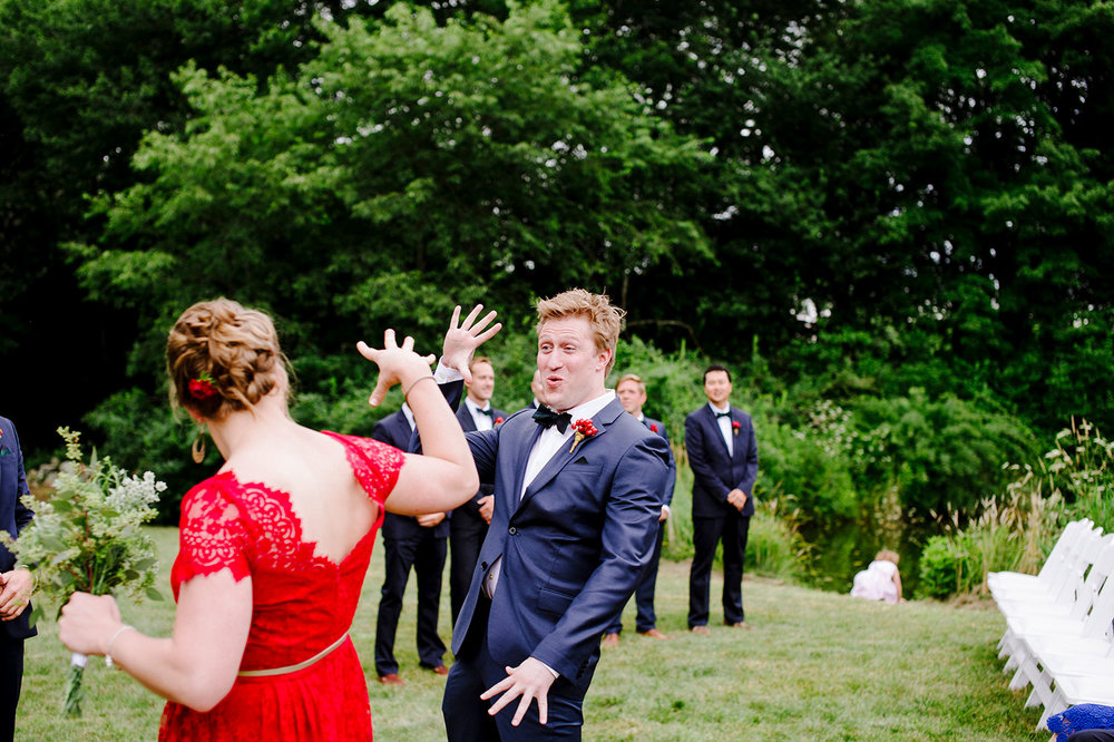 Silly handshakes at a New England Wedding