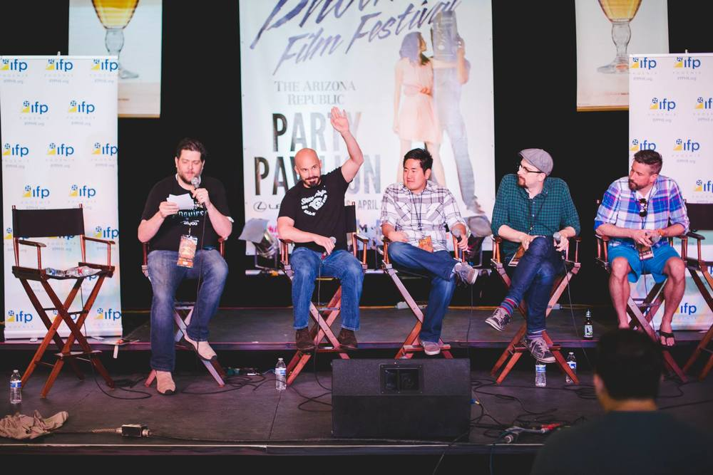 Short Filmmakers' Panel with moderator  Zak Forsman ,  Une Liberation  director  Brian Crewe ,  Drone director Justin S. Lee , DLG director Chad McClarnon, and  I Owe You  producer Jason Tostevin
