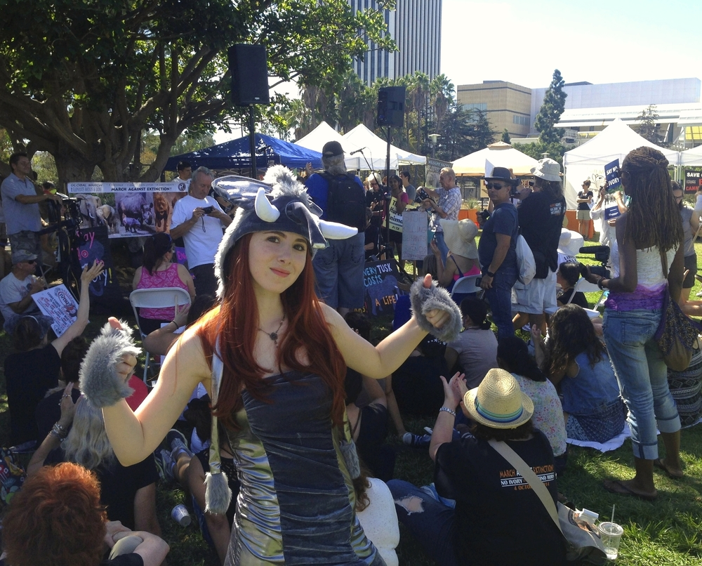 Fiona at the March For Elephants at the La Brea Tarpits