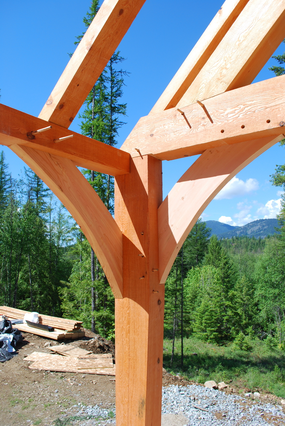 Douglas Fir braces in use.