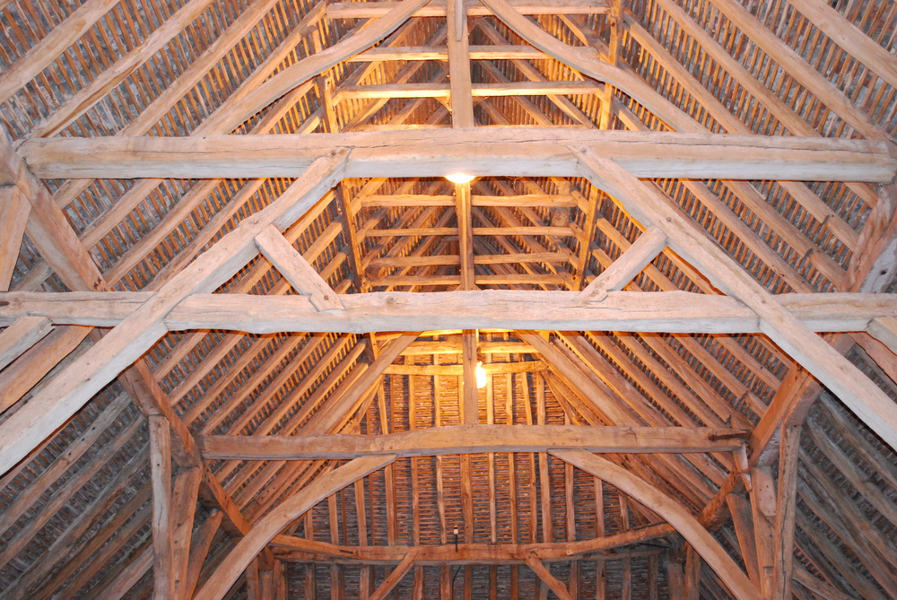 Interior photograph, showing some of the joinery inside the Barley Barn.