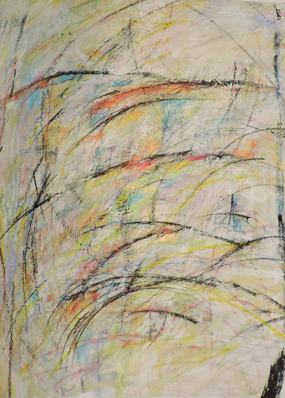 acrylic / oil pastel / colored pencil / crayon on paper, 23x30
