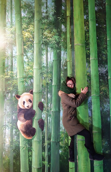 Hug a bamboo tree with your panda buddy.