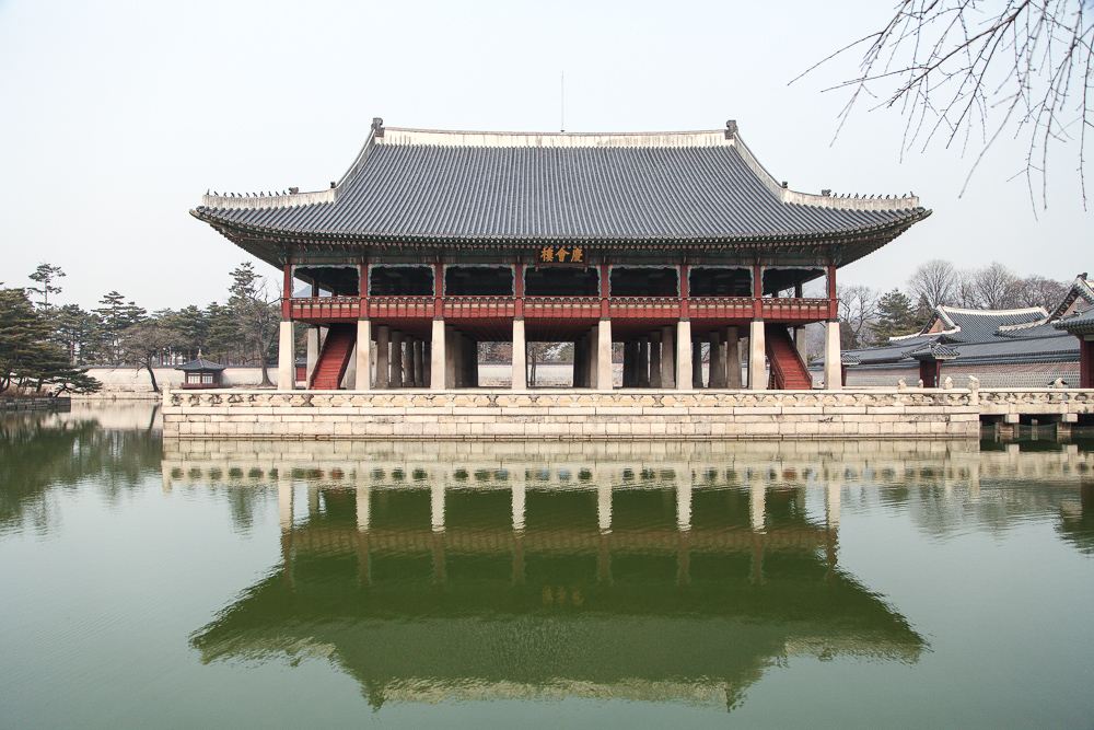 The Gyeonghoeru Pavilion towards the end of winter.