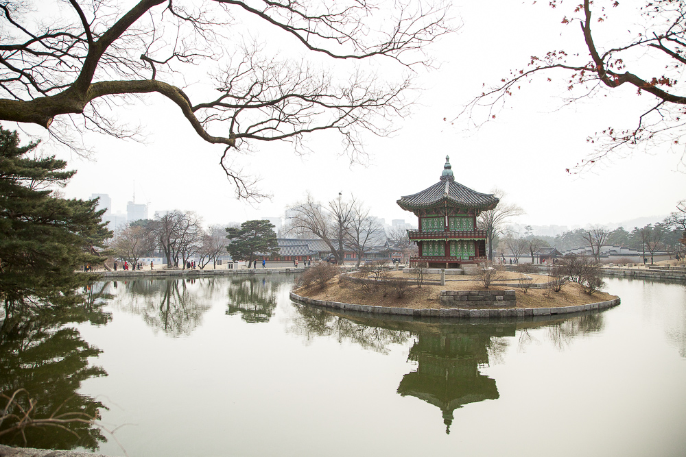 The two-story Hyangwonjeong Pavilion sits on a man-made island.