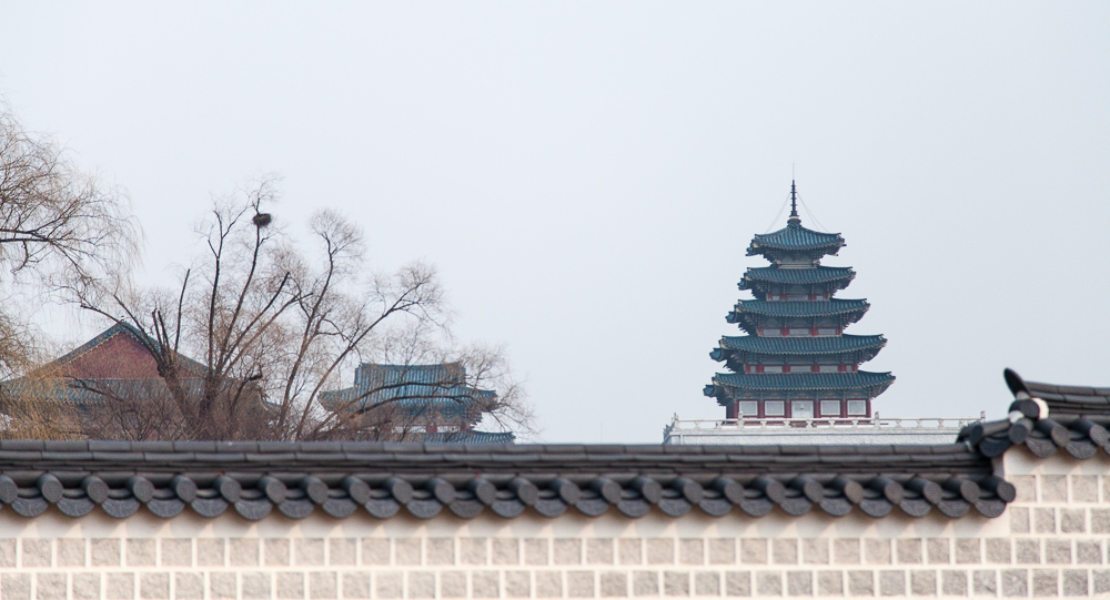The National Folk Museum of Korea in the distance. It houses nearly 100,000 artifacts from the traditional Korean lifestyle.