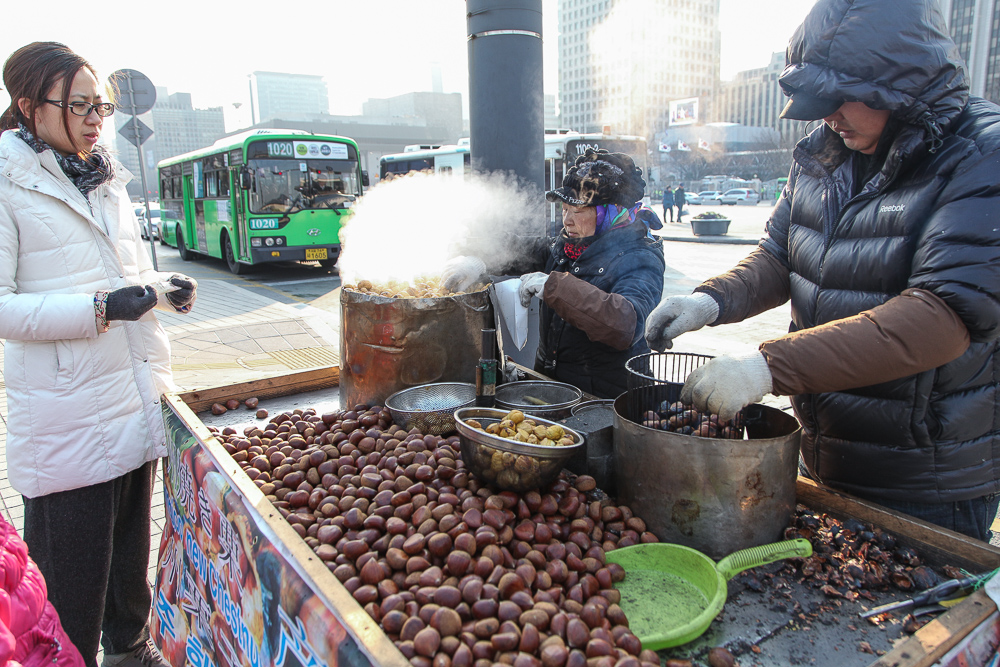 Chestnuts: one of the healthiest winter street foods. That and sweet potatoes.