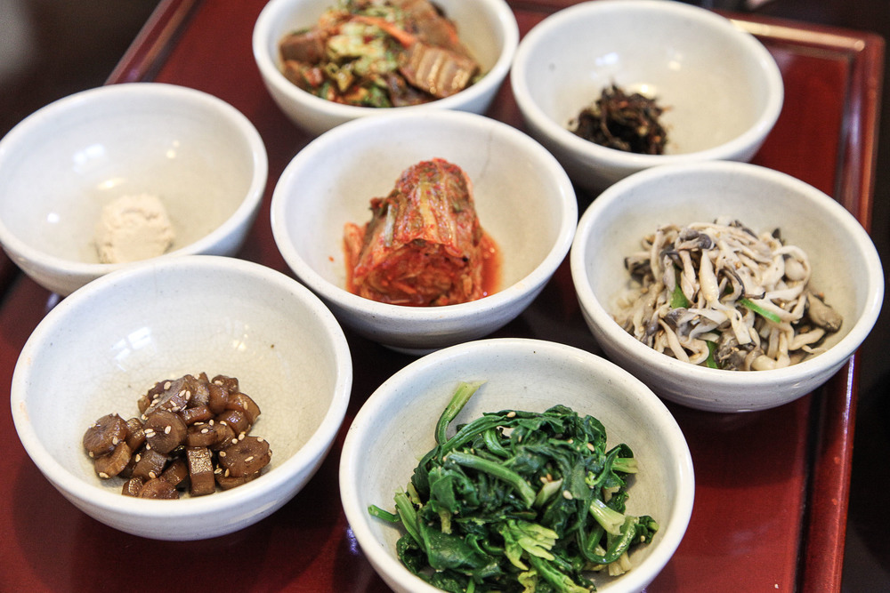 Rainbow of banchan (sidedishes).