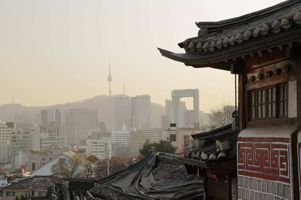 The view of Namsan Tower from Gahoe-dong Alley at sunset.