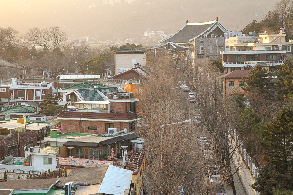 View standing from the edge of Bukchon-ro 5na-gil.