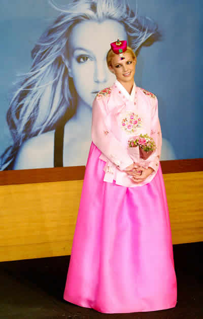 Britney Spears wearing hanbok by Park Sul-nyeo.