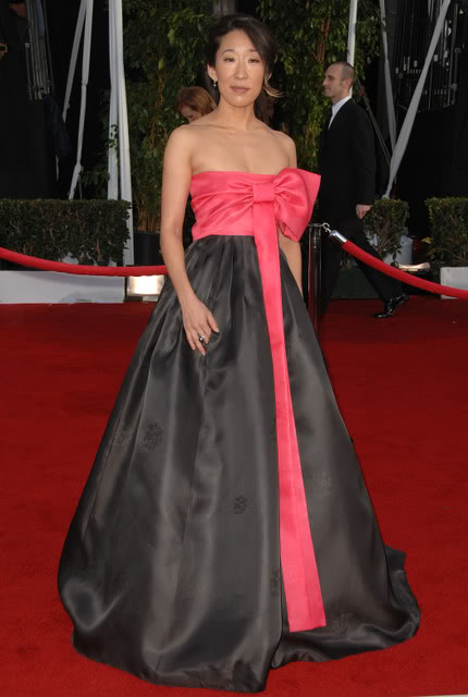 Sandara Oh at the SAG awards. Hanbok by Kim MeHee.
