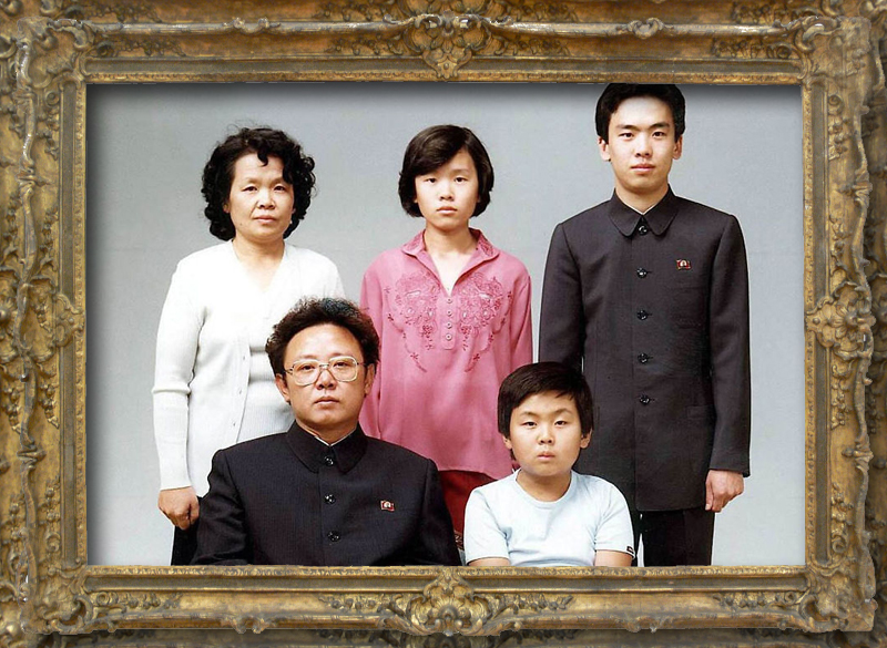 Kim Jong Il's family portrait. From left to right (top to bottom): Sung Hye Rang (Kim Jong Il's sister-in-law), Lee NAm Ok (Sung Hye Rang's daughter), Lee Il Nam (Sung Hye Rang's son), Kim Jong Il, and Kim Jong Nam.