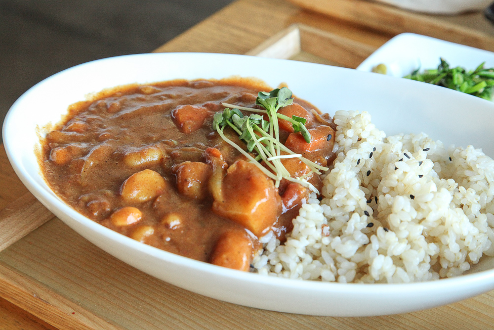 soybean curry on brown rice