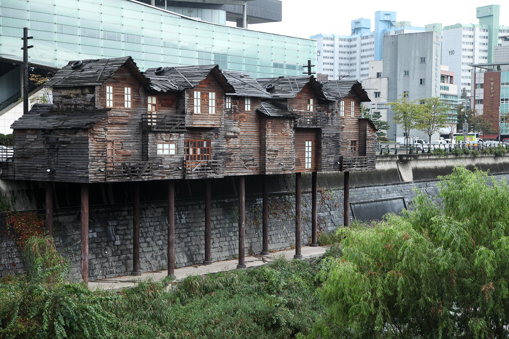 Reproduction of Seoul slums from the 50s and 60s. Located across from the Cheonggyecheon Museum.