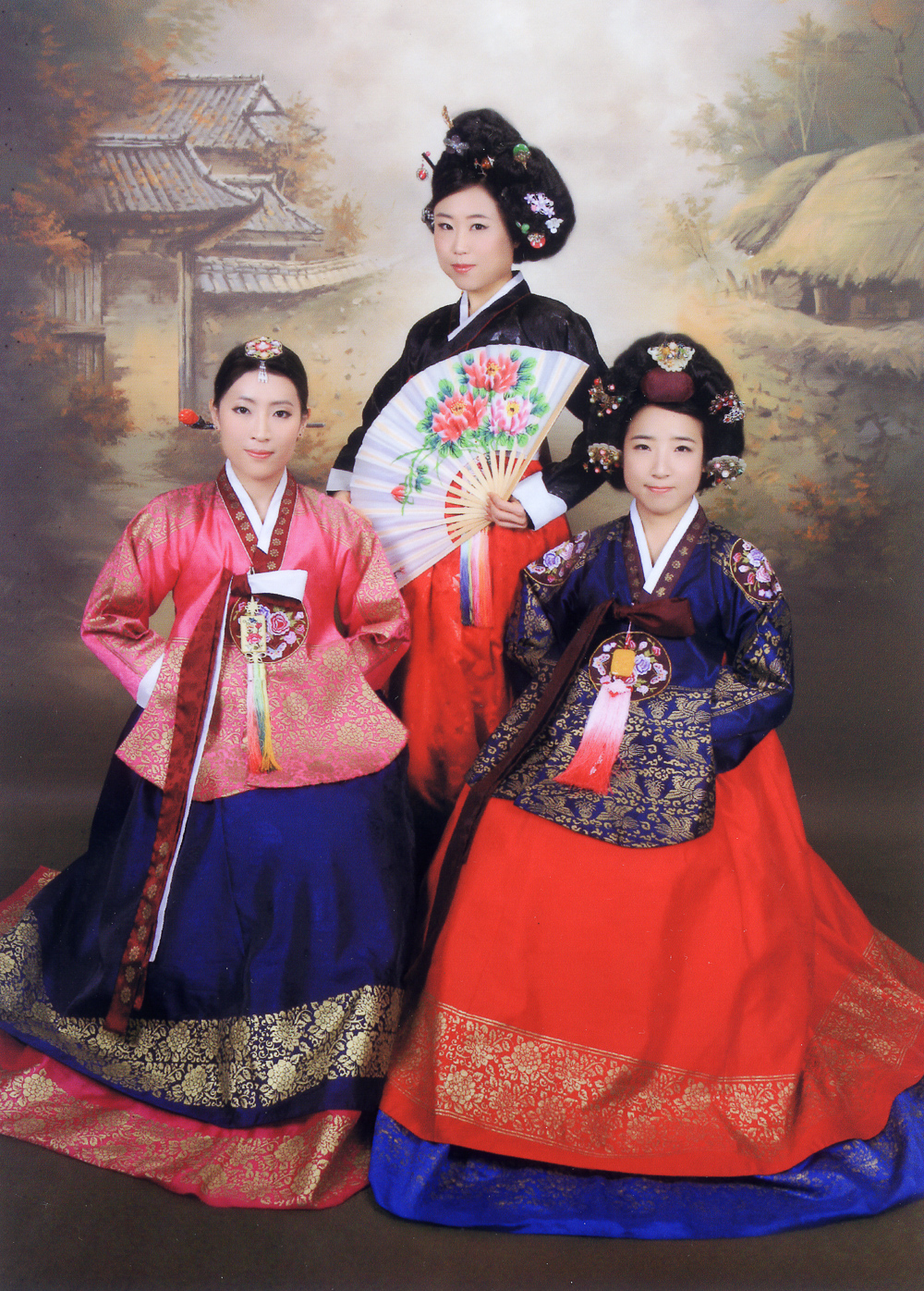 Professor Oh (me), Yoonah and Judy dressed in hanbok at Goguan Studio.