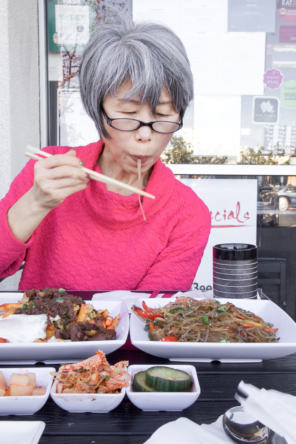 Slurpin' those Japchae noodles!