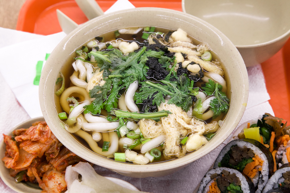 Udon with kimchi and kimbap.