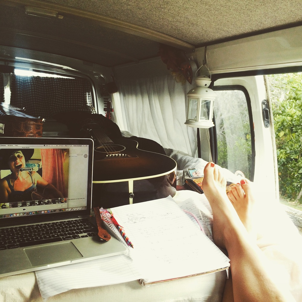 Songwriting inside my van parked at Lennox Head lookout 2 days ago.