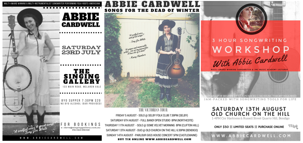 A few more upcoming tour posters for SA, VIC plus even a Songwriting Workshop in Bendigo!