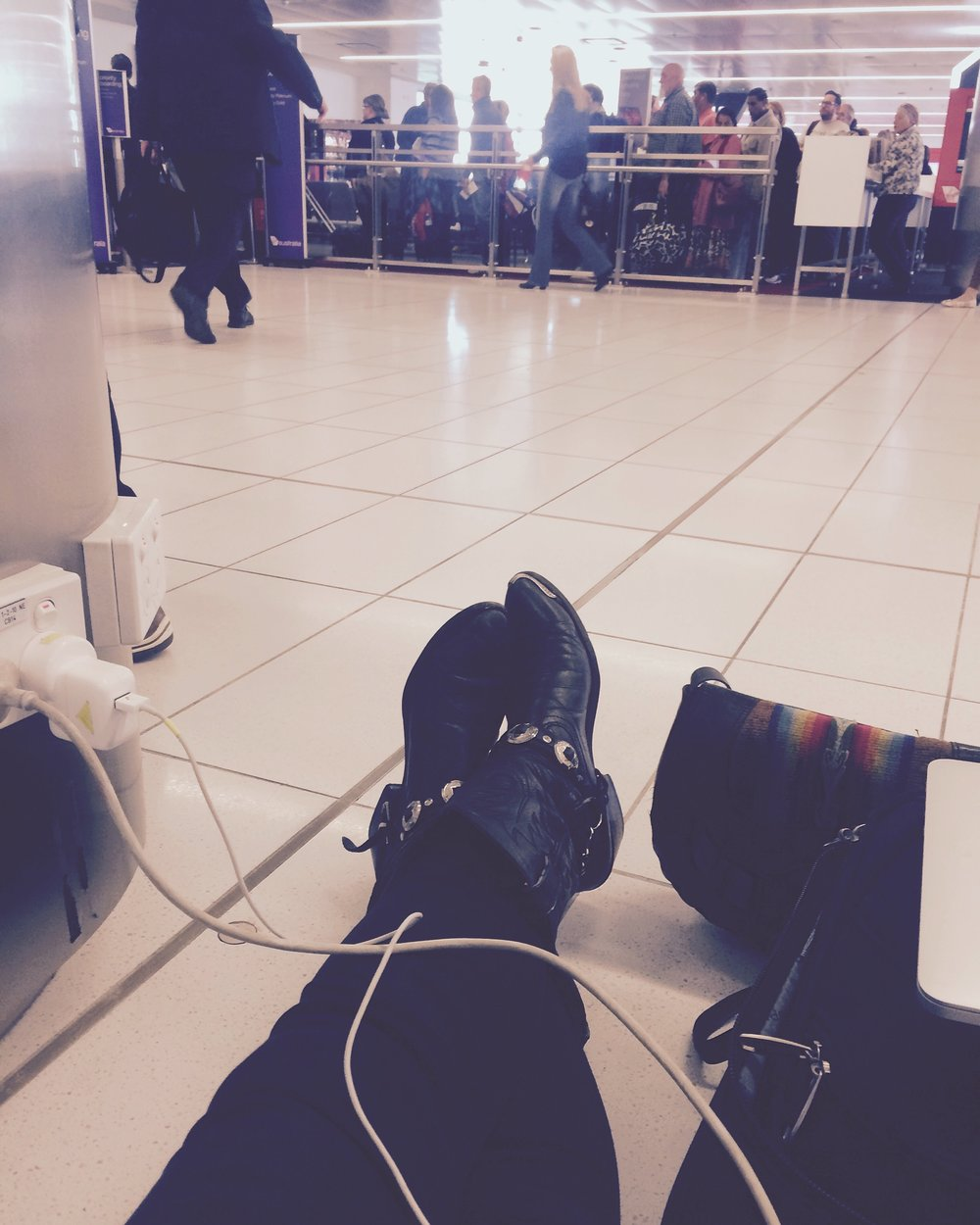 My airport style. Sit & charge till the last call!