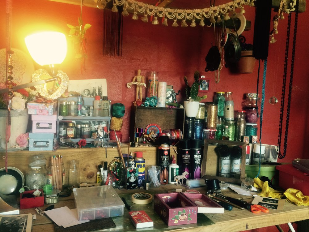 My art space for blessed creative MESS! This is where my years of Mexican trinkets and art supplies are transforming into the new album artwork. (Big thanks to my mum for generously allowing me to overtake her gardening shed for a while!)