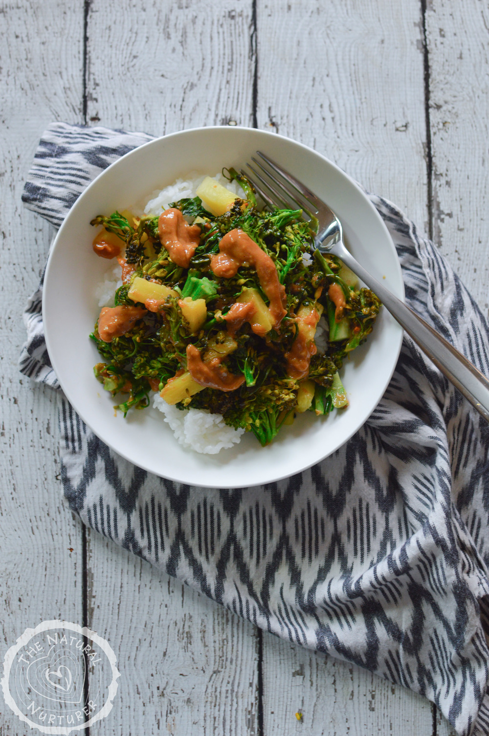 Pineapple Broccoli Stir Fry with Thai Peanut Sauce