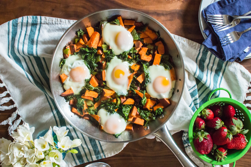 One-Skillet Sweet Potato & Kale HomeFries with Eggs