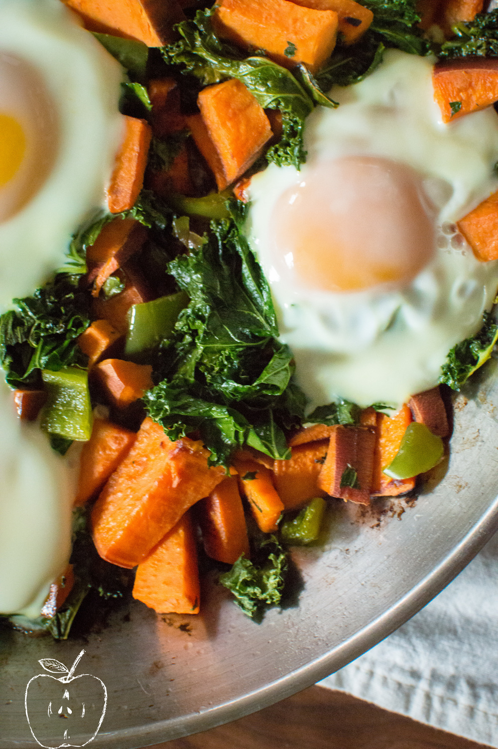 One-Skillet Sweet Potato & Kale Home Fries with Eggs