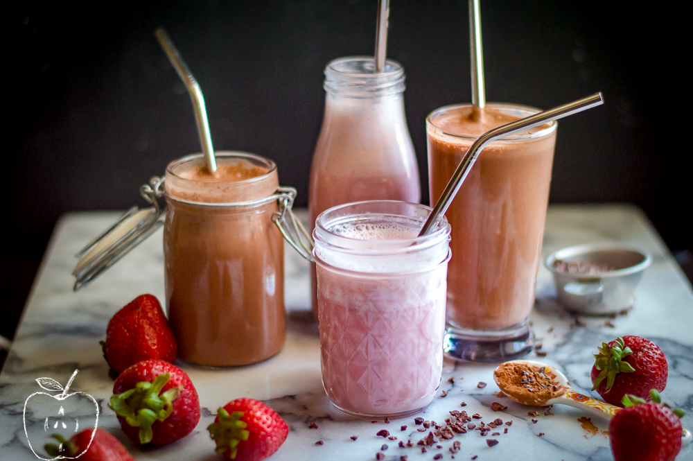 Natural Chocolate and Strawberry Milk