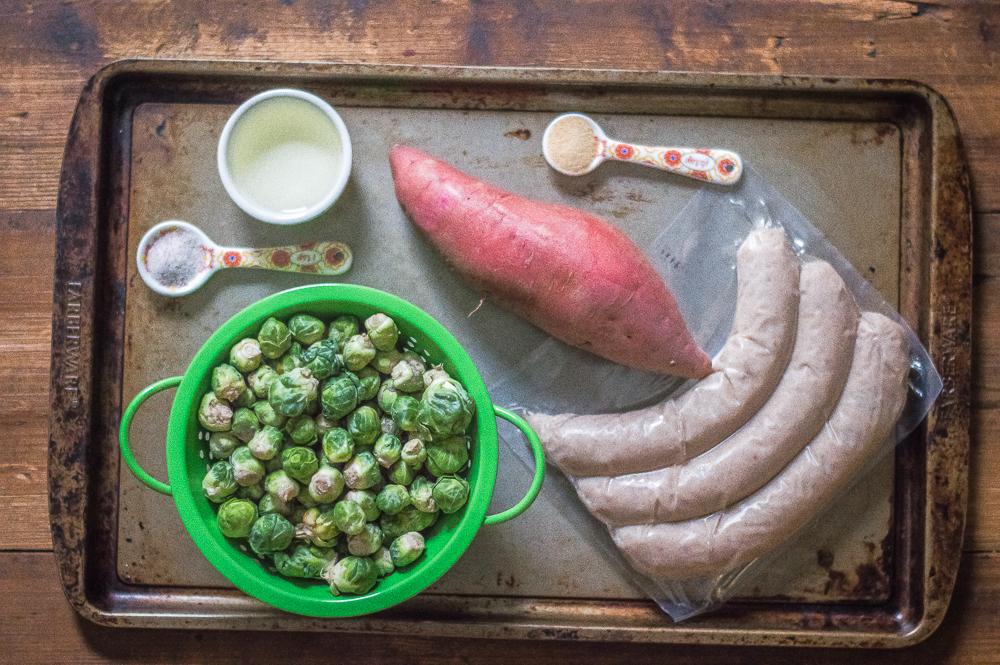 One-Sheet Roasted Sausage & Brussels Sprout Dinner