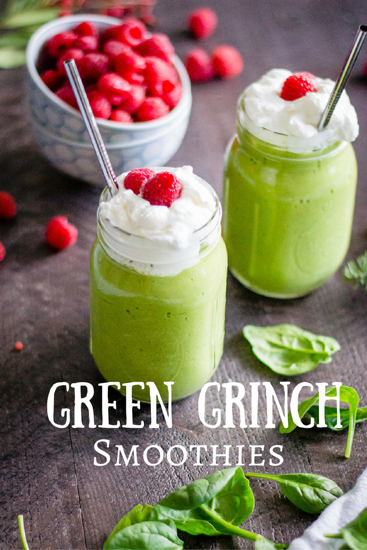 Need a little green in your life this holiday season? These Green Grinch Smoothies are a festive, healthy, and oh-so delicious way to get bonus greens into your belly. Kid-tested and approved (25 times), these smoothies will be a favorite treat all year round.  #dairyfreesmoothie #veggieloadedsmoothie #hiddenveggiesmoothie #paleosmoothie