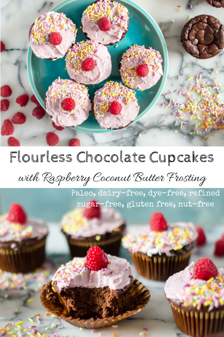 Flourless Chocolate Cupcakes with Raspberry Coconut Butter Frosting