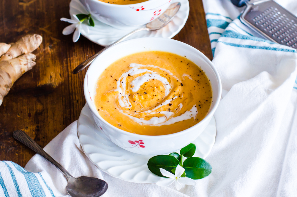 This Germ-Kicking Carrot Ginger Soup is the perfect easy dinner. Ready in a little over 30 minutes, so delicious, and healthy. Whole30, Paleo, gluten free, dairy free, and vegetarian. #healthysoup #whole30soup #veggieloaded #paleosoup