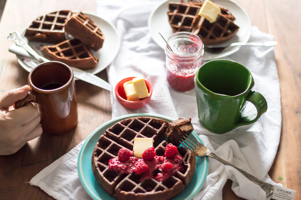 Flourless Chocolate Protein Waffles with Raspberry Chia Spread