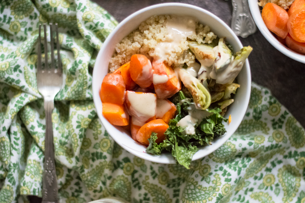 Roasted Veggie & Quinoa Power Bowls with Peanut Sauce