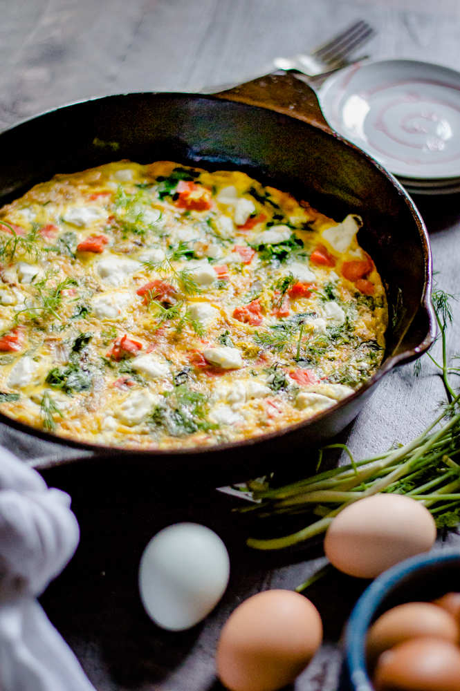 Smoked Salmon Spinach & Goat Cheese Frittata