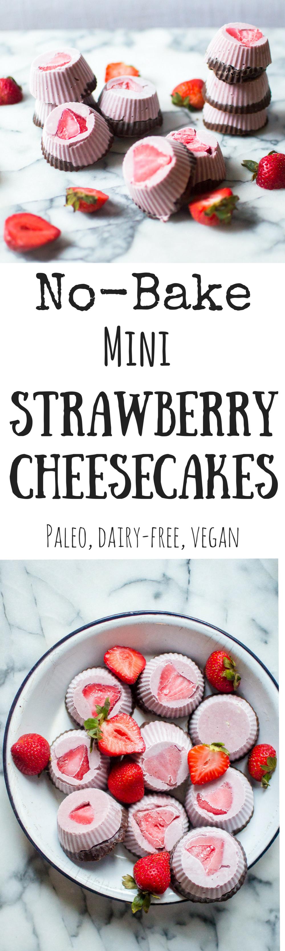 No-Bake Mini Strawberry Cheesecakes (Paleo, plant based)