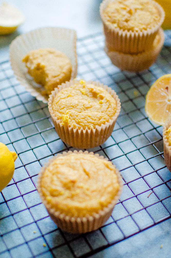 These One-Bowl Paleo Lemon Muffins are so easy to make in one bowl and are so delicious! Gluten free, dairy free, and refined sugar free- they make a great breakfast, snack or dessert. #paleomuffins #paleobaking #glutenfreemuffins #glutenfreebaking