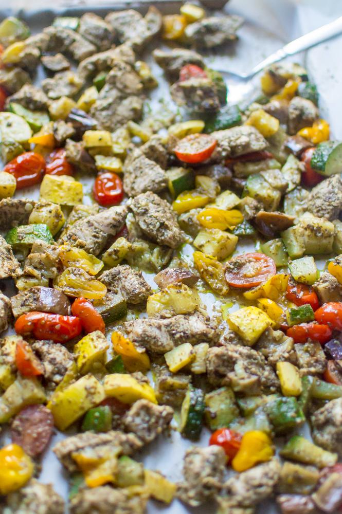 One-Sheet Pan Pesto Chicken & Summer Veggies