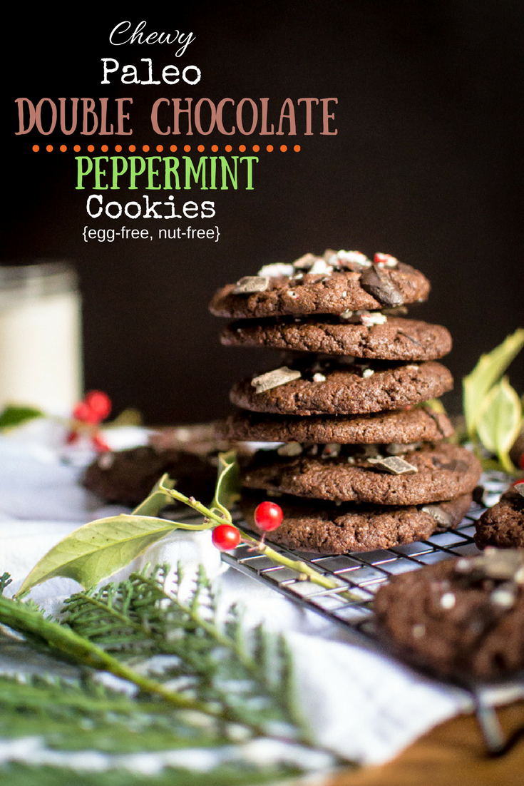 Chewy Paleo Double Chocolate Peppermint Cookies {egg-free, nut-free}