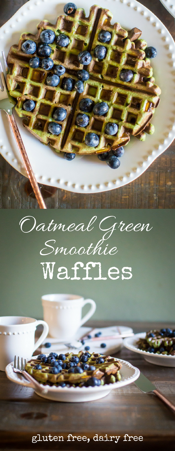 Oatmeal Green Smoothie Waffles