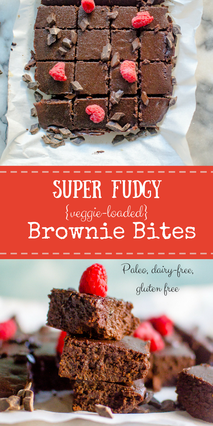 Super Fudgy {veggie-loaded} Brownie Bites (Paleo, dairy-free)
