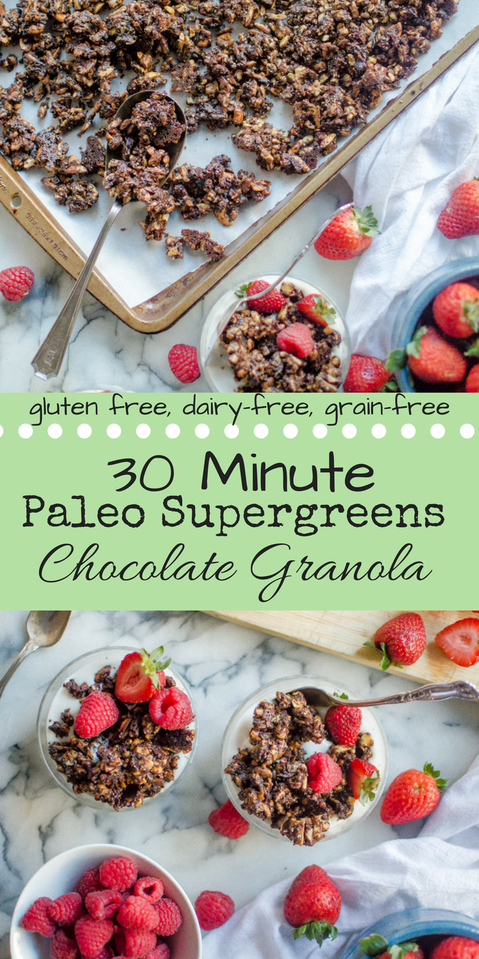 30-Minute Paleo Chocolate Supergreens Granola